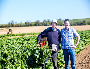 Tom Sinnott with Malcolm Robertson, local Rhubarb grower from Adamstown, Wexford